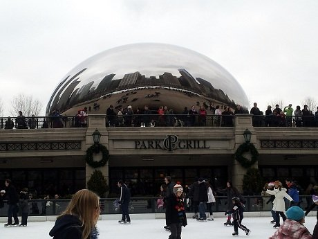 Gorgeous view of skating in front of The Bean