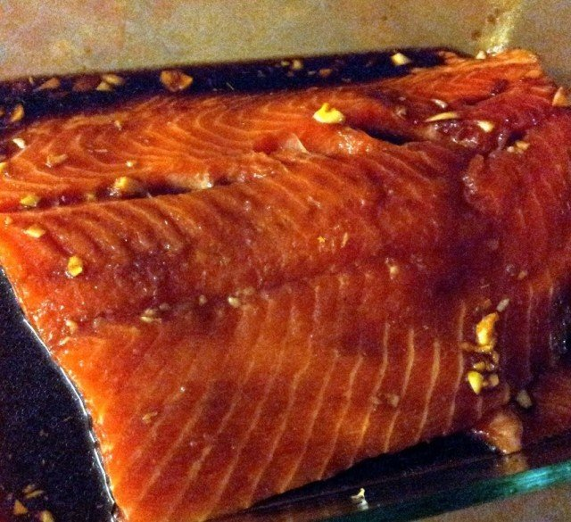 Marinate salmon in a shallow dish