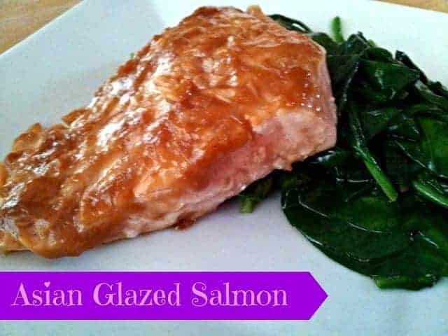 Asian glazed salmon plated with spinach