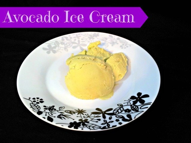 Dish of homemade avocado ice cream