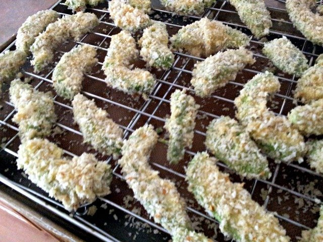 Avocado fries on baking sheet