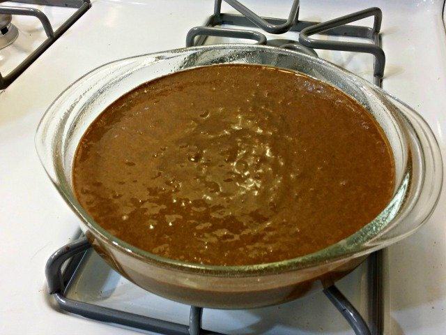Chocolate olive oil cake ready to bake