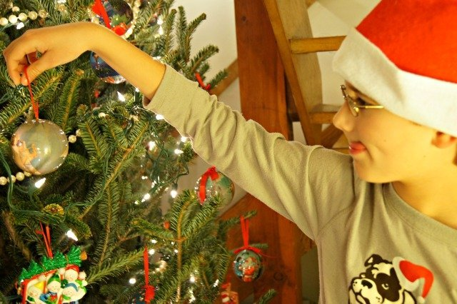 Placing ornaments on the tree