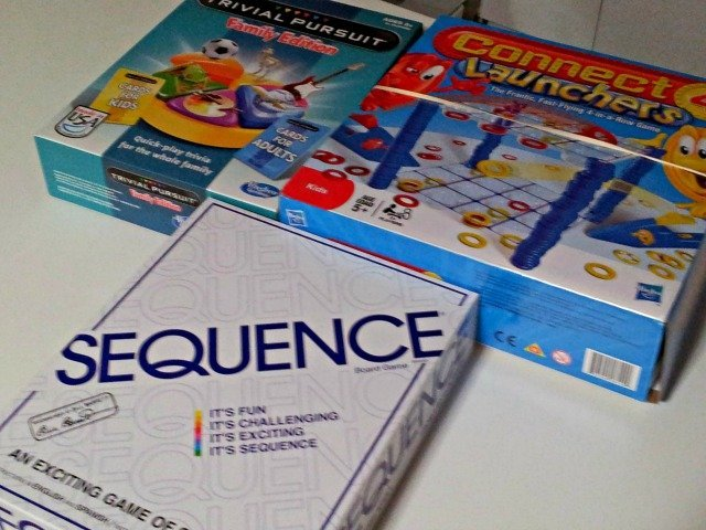 Board games Sequence, Trivial Pursuit for Kids and Connect Four Launchers
