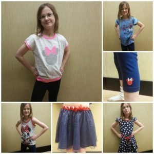 Little Miss modeling Jumping Beans Disney items at Kohls