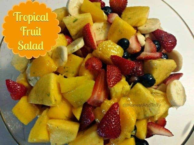 Tropical fruit salad is made all the better with a little glaze that ...
