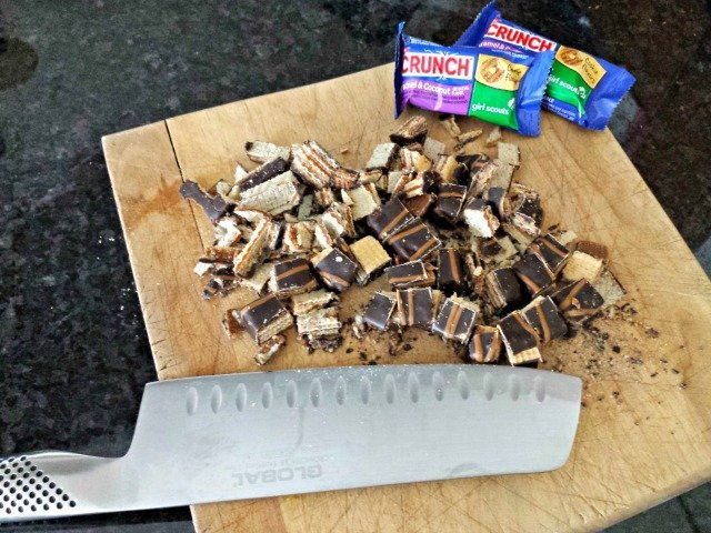 Cut up your frozen NESTLE Girl Scout Crunch Candy Bars to add to your ice cream
