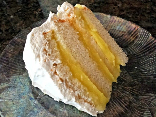 Delicious slice of lemon filled cake