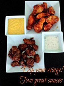 Two sauces for dipping hot wings
