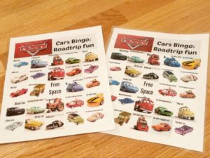 Fun Cars Movie Bingo Cards printable