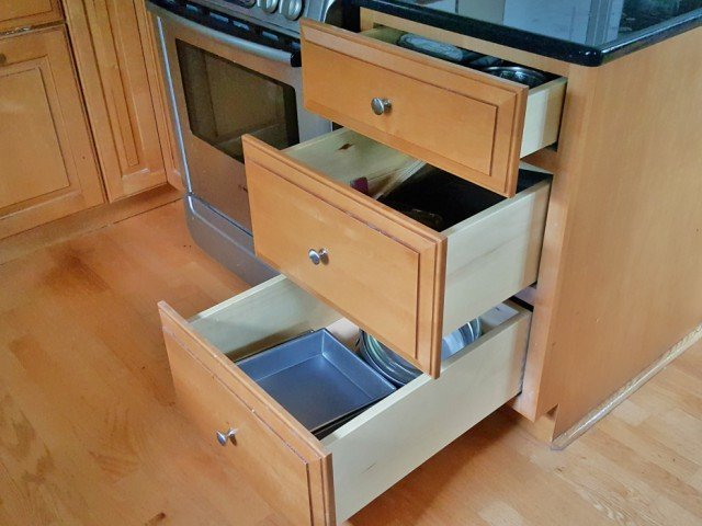 Kitchens with lots of drawers instead of cabinets