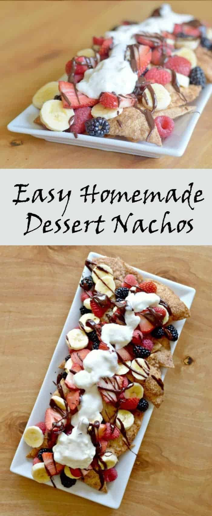 Easy Homemade Dessert Nachos Recipe With Cinnamon Sugar Tortilla Chips Mexican Chocolate Sauce And Fresh